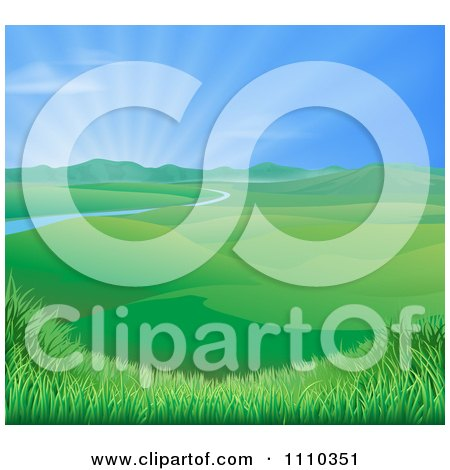 Clipart Sun Shining Over A Spring Time Landscape With Rolling Hills And A River - Royalty Free Vector Illustration by AtStockIllustration