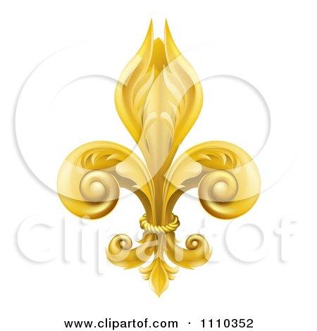 Clipart 3d Ornate Golden Fleur De Lis Lily Symbol - Royalty Free Vector Illustration by AtStockIllustration