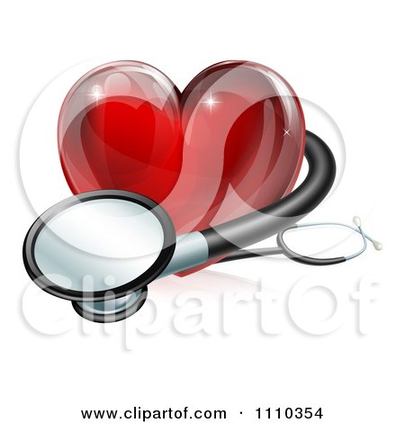 Clipart 3d Red Medical Heart With A Stethoscope - Royalty Free Vector Illustration by AtStockIllustration