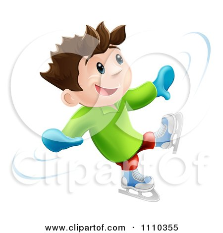 Clipart 3d Happy Boy Dancing And Having Fun While Ice Skating - Royalty Free Vector Illustration by AtStockIllustration
