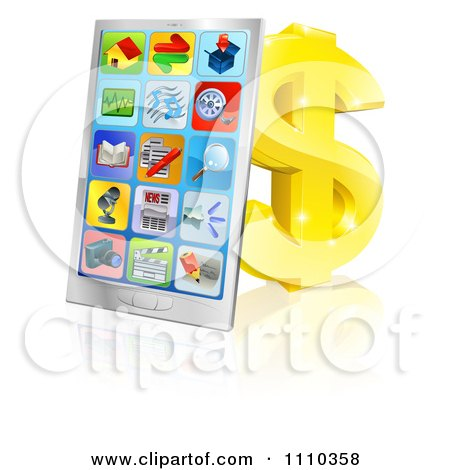 Clipart 3d Smart Phone With App Icons Leaning Against A Gold Dollar Symbol - Royalty Free Vector Illustration by AtStockIllustration