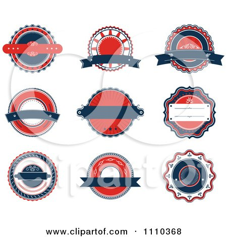 Red White And Blue Retro Labels Posters, Art Prints