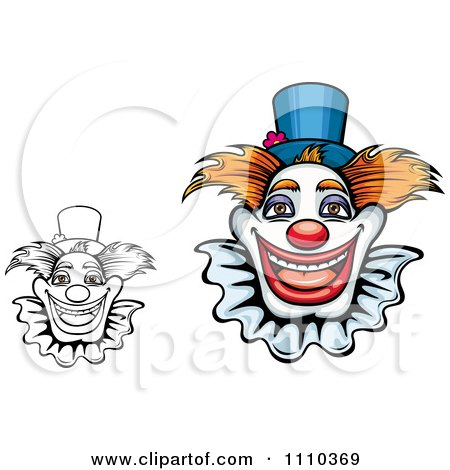 Clipart Friendly Happy Clowns - Royalty Free Vector Illustration by Vector Tradition SM