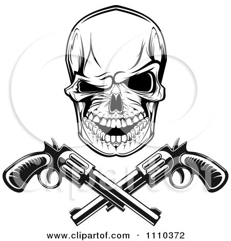 Clipart Black And White Gangster Skull With Crossed Pistols - Royalty Free Vector Illustration by Vector Tradition SM