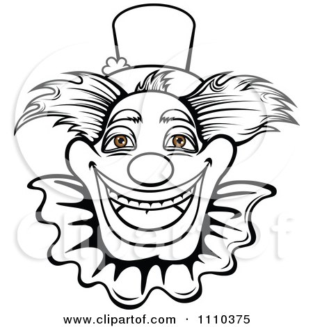 Clipart Black And White Friendly Happy Clown With Brown Eyes - Royalty Free Vector Illustration by Vector Tradition SM