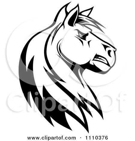 Clipart black and white tough stallion head royalty free for Clipart mare