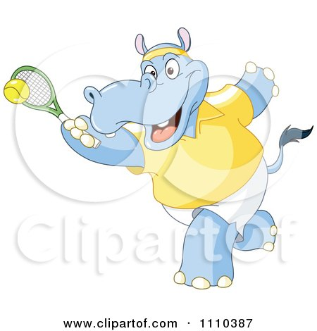 Clipart Sporty Hippo Playing Tennis - Royalty Free Vector Illustration by yayayoyo
