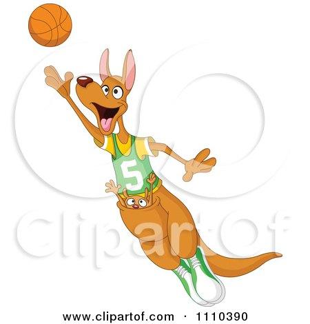 Clipart Sporty Kangaroo And Joey Playing Basketball - Royalty Free Vector Illustration by yayayoyo