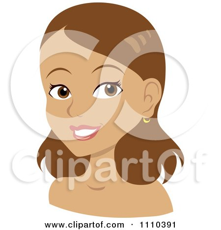 Clipart Happy Woman With Shoulder Length Brunette Hair - Royalty Free Vector Illustration by Rosie Piter