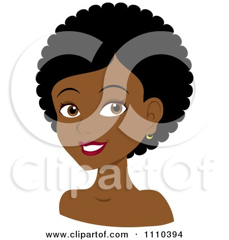 Clipart Happy Black Woman With Curly Or Afro Hair - Royalty Free Vector Illustration by Rosie Piter