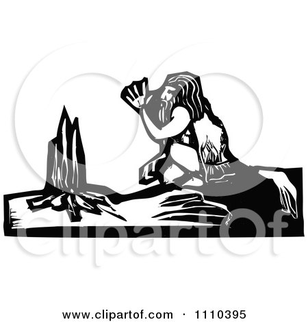 Clipart Caveman Warming Up By A Fire Black And White Woodcut - Royalty Free Vector Illustration by xunantunich