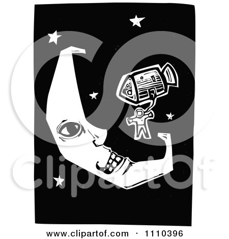 Clipart Astronaut And Rocket Near A Crescent Moon In Outer Space Black And White Woodcut - Royalty Free Vector Illustration by xunantunich