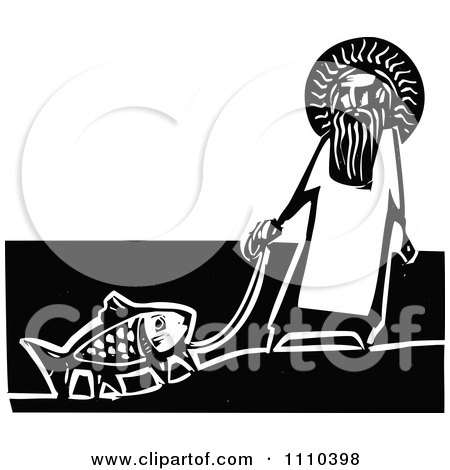 Clipart Jesus With A Legged Goldfish On A Leash Black And White Woodcut - Royalty Free Vector Illustration by xunantunich