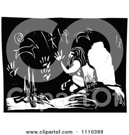Neanderthal Warming Up By A Fire In A Cave With Drawings Black And White Woodcut Posters, Art Prints