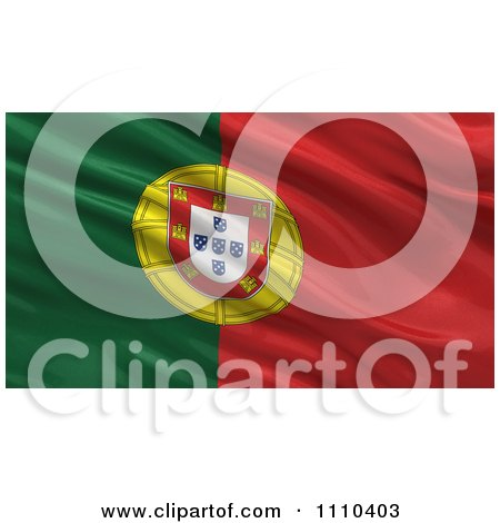 Clipart 3d Waving Flag Of Portugal Rippling And Waving - Royalty Free CGI Illustration by stockillustrations