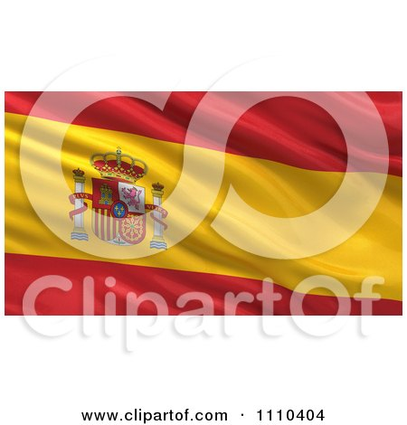 Clipart 3d Waving Flag Of Spain Rippling And Waving - Royalty Free CGI Illustration by stockillustrations