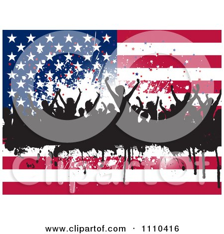 Clipart Silhouetted Dancers And Grunge Over An American Flag Royalty Free Vector Illustration