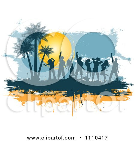 Clipart Silhouetted Dancers On Orange And Blue Grunge With Palm Trees And A Sun - Royalty Free Vector Illustration by KJ Pargeter