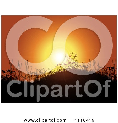Clipart Orange Sunset And Silhouetted Grassy Hills With Flowers - Royalty Free Vector Illustration by KJ Pargeter