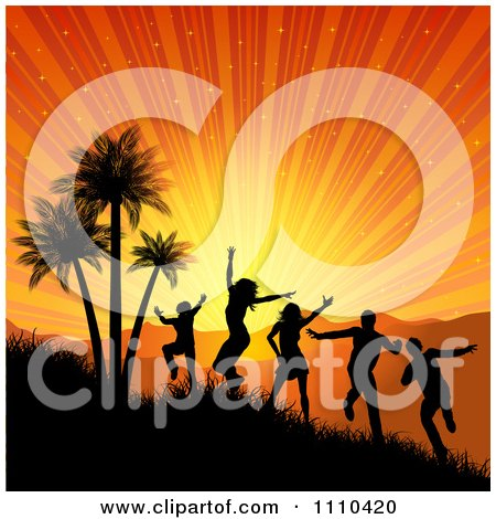 Clipart Silhouetted People Dancing And Jumping By Palm Trees Under A Tropical Sunset Burst - Royalty Free Vector Illustration by KJ Pargeter