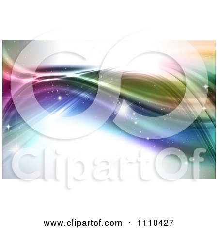 Clipart Background Of Sparkles And Colorful Waves - Royalty Free CGI Illustration by KJ Pargeter