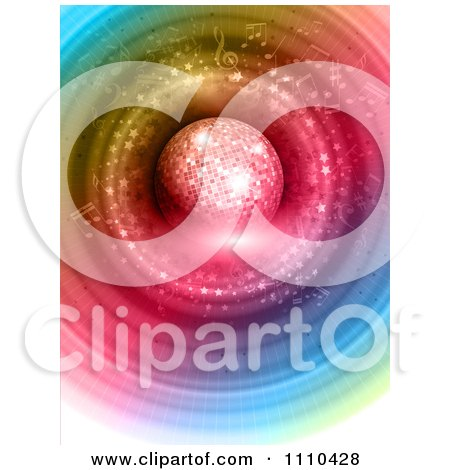 Clipart 3d Disco Ball Over Colorful Rings And Music Notes - Royalty Free Vector Illustration by KJ Pargeter