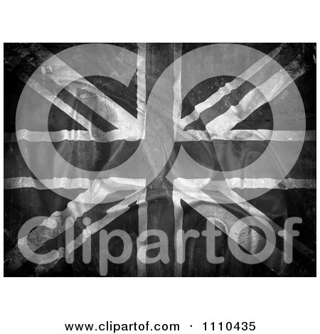 Clipart Grungy Grayscale Ripped Union Jack Flag - Royalty Free CGI Illustration by KJ Pargeter