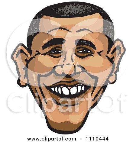 Clipart Caricature Of Barack Obama Smiling - Royalty Free Illustration by Dennis Holmes Designs