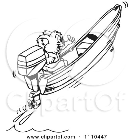 Clipart Black And White Aussie Koala Boating - Royalty Free Vector Illustration by Dennis Holmes Designs