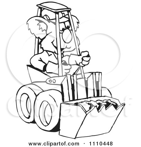 Clipart Black And White Aussie Koala Operating A Bobcat - Royalty Free Vector Illustration by Dennis Holmes Designs