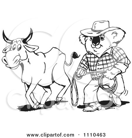 Clipart Black And White Aussie Koala Cowboy And Bull - Royalty Free Vector Illustration by Dennis Holmes Designs