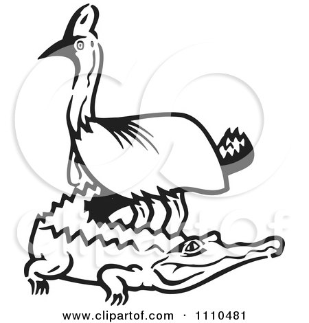 Clipart Black And White Aussie Cassowary And Crocodile - Royalty Free Vector Illustration by Dennis Holmes Designs