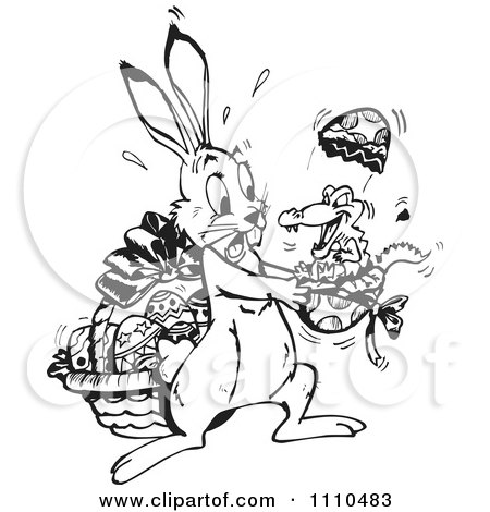 Clipart Black And White Easter Bunny Holding A Crocodile Hatching Form An Egg - Royalty Free Illustration by Dennis Holmes Designs
