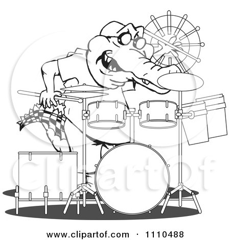 Clipart Black And White Aussie Crocodile Drummer - Royalty Free Vector Illustration by Dennis Holmes Designs