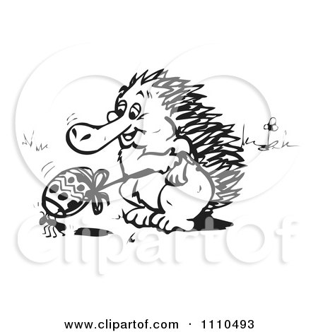 Clipart Black And White Aussie Echidna With An Ant And Easter Egg - Royalty Free Illustration by Dennis Holmes Designs