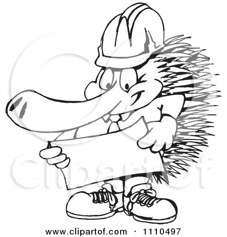 Clipart Black And White Aussie Echidna Builder - Royalty Free Vector Illustration by Dennis Holmes Designs