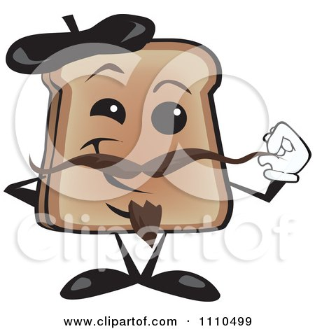 Clipart Toast Holding His Mustache On French Bastille Day - Royalty Free Vector Illustration by Dennis Holmes Designs