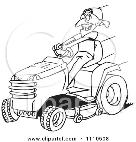 Clipart Black And White Man On A Riding Lawn Mower - Royalty Free Vector Illustration by Dennis Holmes Designs