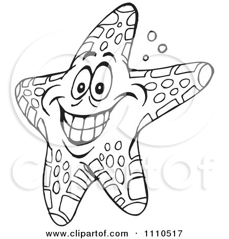 Clipart Black And White Cheerful Starfish - Royalty Free Vector Illustration by Dennis Holmes Designs