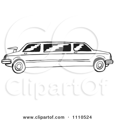 Clipart Black And White Stretch Limousine - Royalty Free Vector Illustration by Dennis Holmes Designs