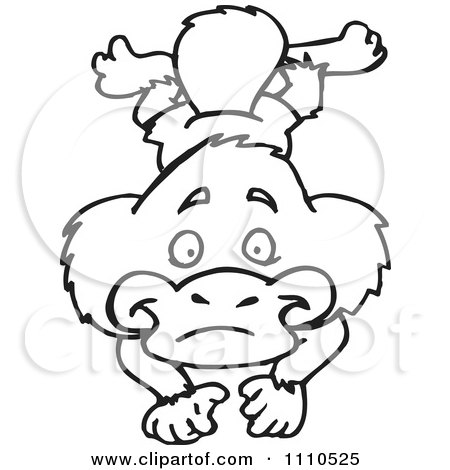 Clipart Black And White Aussie Platypus Swimming 1 - Royalty Free Vector Illustration by Dennis Holmes Designs