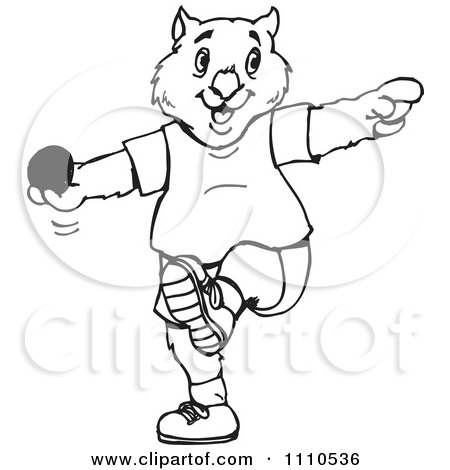 Clipart Black And White Aussie Wombat Throwing A Shot Put - Royalty Free Vector Illustration by Dennis Holmes Designs