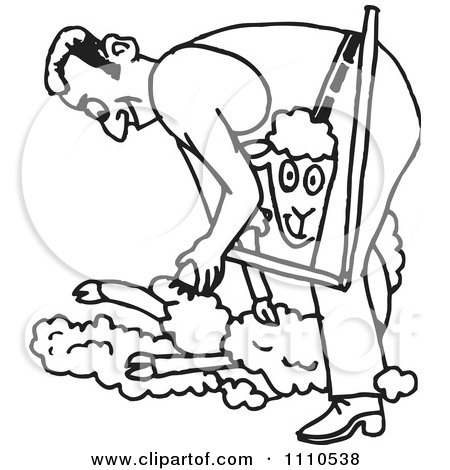 Clipart Black And White Farmer Shearing A Sheep - Royalty Free Vector Illustration by Dennis Holmes Designs
