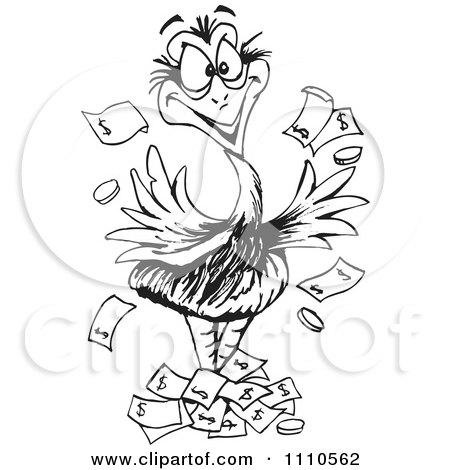 Clipart Black And White Aussie Wealthy Emu Bird With Cash - Royalty Free Vector Illustration by Dennis Holmes Designs