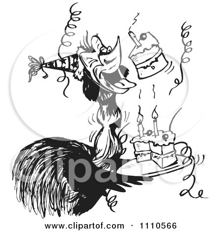 Clipart Black And White Aussie Emu With Cake At A Birthday Party - Royalty Free Vector Illustration by Dennis Holmes Designs