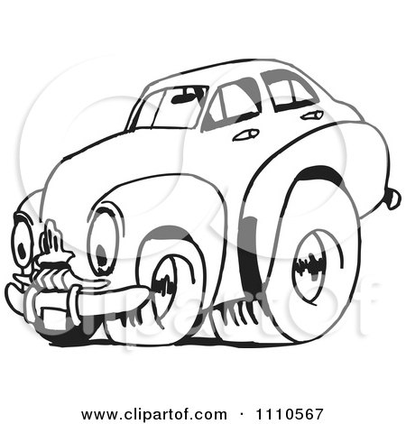 Clipart Black And White Racing Fj Holden Car 2 - Royalty Free Illustration by Dennis Holmes Designs
