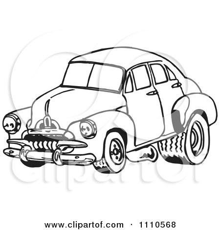 Clipart Black And White Racing Fj Holden Car 1 - Royalty Free Illustration by Dennis Holmes Designs