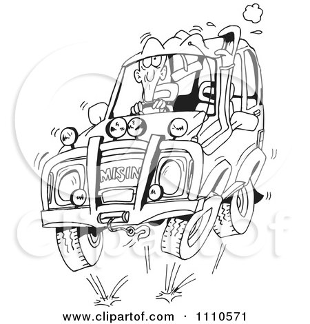 Clipart Black And White Man Four Wheeling In His Suv