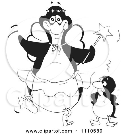 Clipart Black And White Embarrassed Penguin Standing Beside A Fairy Godmother - Royalty Free Illustration by Dennis Holmes Designs