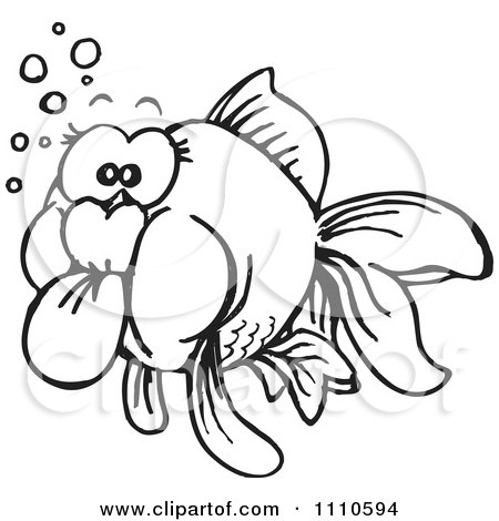 Clipart Black And White Goldfish - Royalty Free Illustration by Dennis Holmes Designs